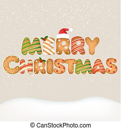 Snow With Christmas Text With Gradient Mesh, Vector...