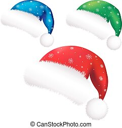 Christmas Color Santa Claus Caps With Gradient Mesh, Vector...