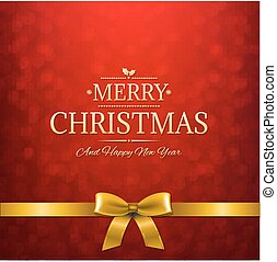Red Bokeh Card With Golden Ribbon