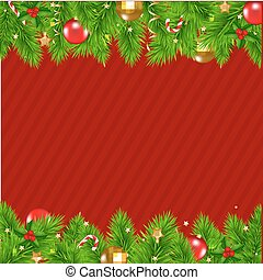 Retro Red Christmas Wall With Gradient Mesh, Vector...