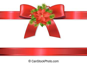 Xmas Red Ribbon And Bow