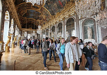 PARIS - APRIL 28. Visitors on queue for Versailles palace...