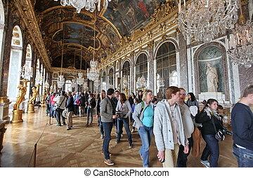 PARIS - APRIL 28. Visitors on queue for Versailles palace...