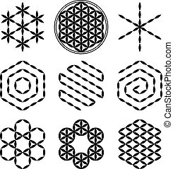 Flower of Life Extracts - Eight extracted patterns from the...