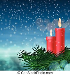 Christmas background with candles and fir tree. EPS10...