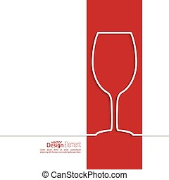Ribbon in the form of wine glass with shadow and space for...