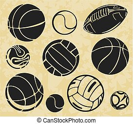 Sports Balls - vector set. - Sports balls vector stock...