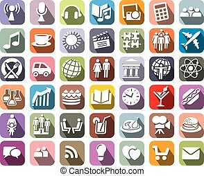 Icons - Collection of colorful icons over white background