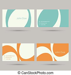Set business card template with colored lines and curves....