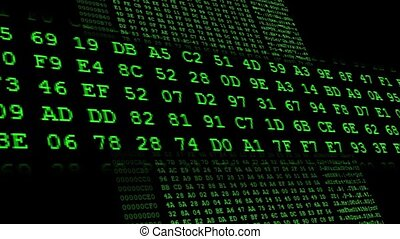 Hexadecimal code running up a computer screen Green digits