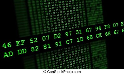 Hexadecimal code running up a compu - Green Hexadecimal code...