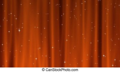 Star Tapestry Orange Loop - Sparkling star particles fall...