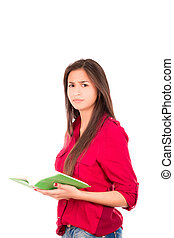 Young Latin Girl Holding Open Book - Latin college Girl...