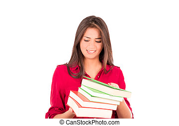 Young Latin Girl Holding Pile of Books - Latin college...