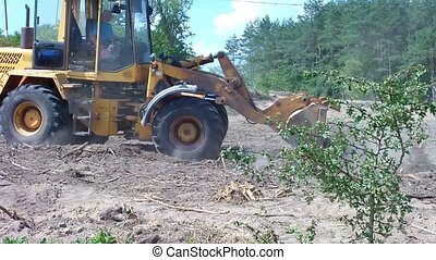 Tractor bulldozer clears the area of forest