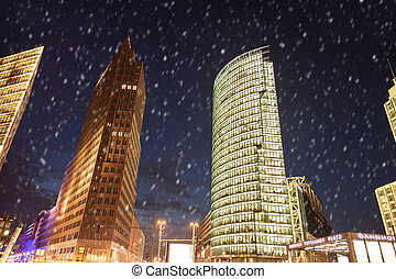snow at potsdamer platz in berlin