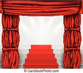 silk curtain with columns and stairs to the podium