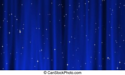 Star Tapestry Blue Loop - Sparkling star particles fall and...