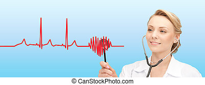 smiling female doctor listening to heartbeat - healthcare,...
