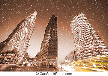 potsdamer platz in berlin in winter