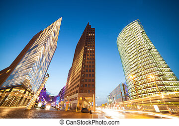 potsdamer platz in berlin in evening