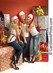 Three gorgeous women in Christmas mood - Three gorgeous...