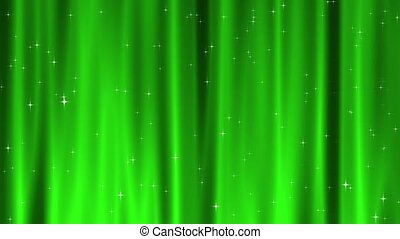Star Tapestry Green Loop - Sparkling star particles fall and...