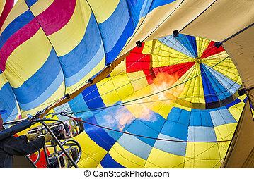 Hot Air Balloon Preparing to Fly - Hot air balloon preparing...