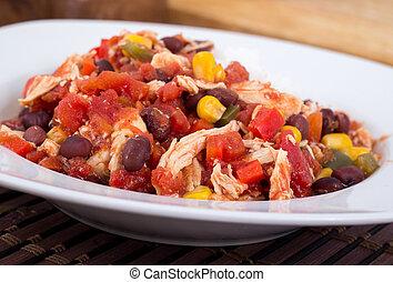 Mexicano, pimentão, galinha, guisado,