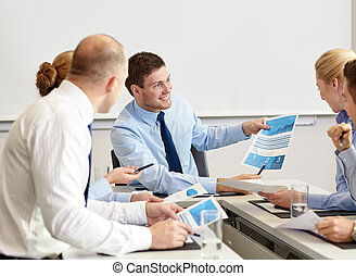 business people with papers meeting in office - business,...