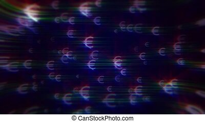 iridescent euro signs - Blue background with iridescent euro...