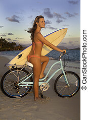 girl with bike and surfboard - girl on bike with surfboard...