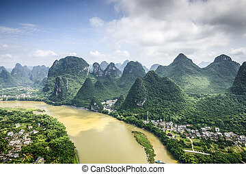 Karst Mountains in China - Karst Mountain landscape on the...