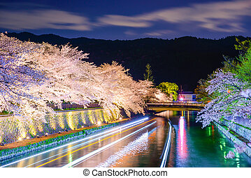 Kyoto, Japan on the Okazaki Canal during the spring cherry...