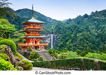 Nachi, Japan Pagoda and Waterfall - Nachi, Japan at the...