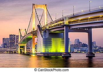 Tokyo, Japan at Rainbow Bridge - Tokyo, Japan cityscape at...