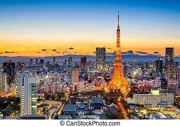 Tokyo, Japan Skyline - Tokyo, Japan skyline at Tokyo Tower.