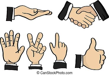 Cartoon Hand Gestures Vector Illustration - Vector...