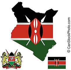 Kenya Flag - Flag and national coat of arms of the Republic...