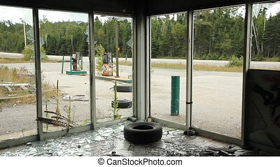Abandoned gas station. Interior. - View from interior of...