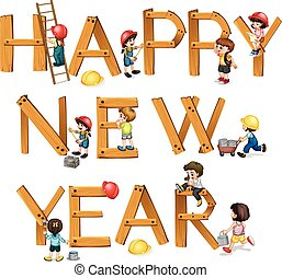 New Year - Illustration of a wooden happy new year sign