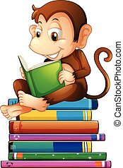 Monkey and books - Illustration of a monkey reading a book