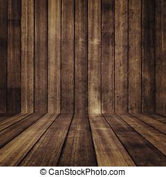 pared, y, piso, apartadero, resistido, madera, Plano de...
