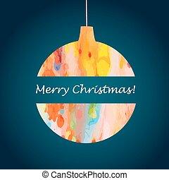 Christmas bal - Christmas, abstract, watercolor ball. Vector...