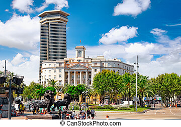 Beautiful landscape of the urban view Barcelona.Spain.