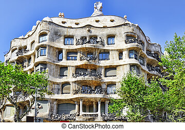 Gaudi's creation-house Casa Mila.Barcelona, Catalonia, Spain...