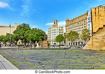 Famous Placa De Catalunia in Barcelona Spain, Catalonia
