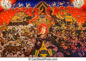 wall painting Wat Phanan Choeng temple Ayutthaya bangkok...