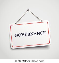 governance hanging sign isolated on white wall