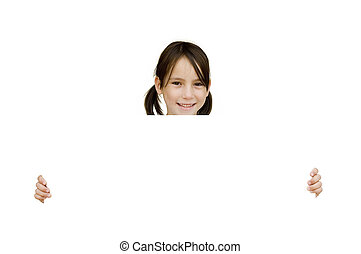 girl holding a white banner - young girl holding a white...